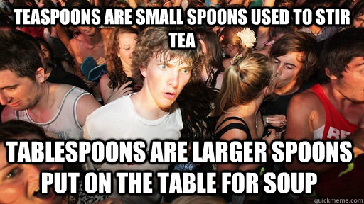 teaspoons are small spoons used to stir tea tablespoons are  - Sudden Clarity Clarence