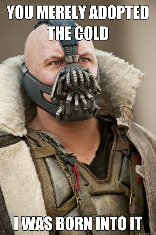 you merely adopted the cold i was born into it - Bane Face