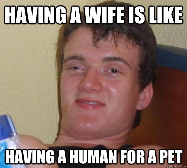 having a wife is like having a human for a pet - 10 Guy