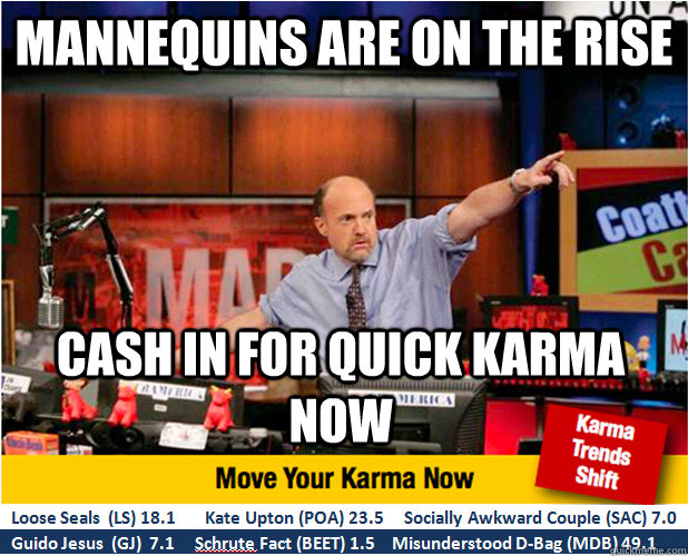 mannequins are on the rise cash in for quick karma now - Jim Kramer with updated ticker
