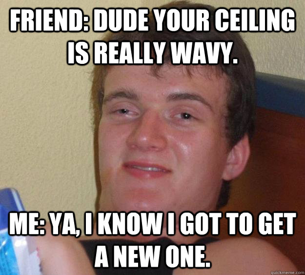 friend dude your ceiling is really wavy me ya i know i g - 10 Guy
