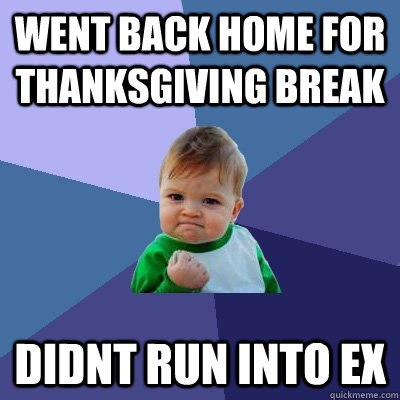 went back home for thanksgiving break didnt run into ex - Success Kid