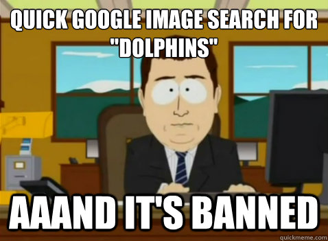 quick google image search for dolphins aaand its banned - South Park Banker