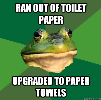 ran out of toilet paper upgraded to paper towels - Foul Bachelor Frog