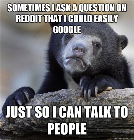 Sometimes I ask a question on reddit that I could easily goo - Confession Bear