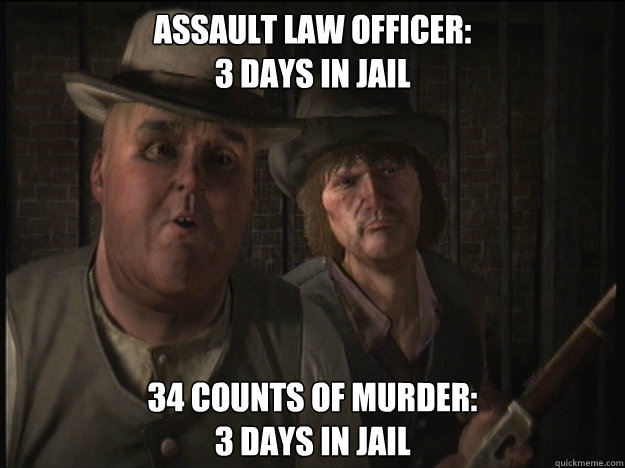 assault law officer 3 days in jail 34 counts of murder 3 d - Jonah and Eli