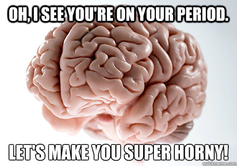 oh i see youre on your period lets make you super horny - Scumbag Brain