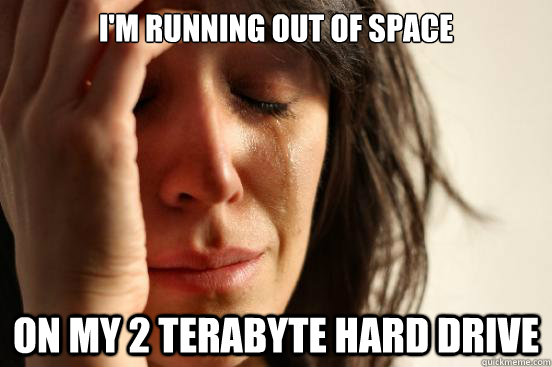 im running out of space on my 2 terabyte hard drive - First World Problems
