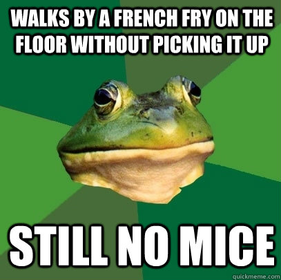 walks by a french fry on the floor without picking it up sti - Foul Bachelor Frog