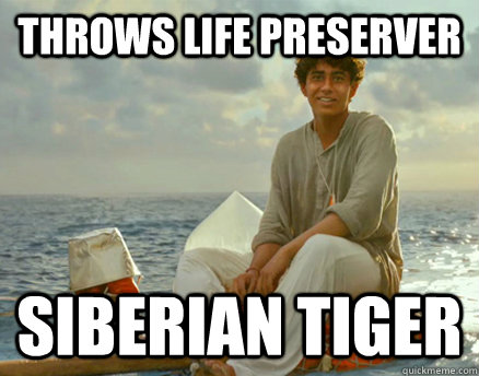 throws life preserver siberian tiger  - Bad Luck Pi