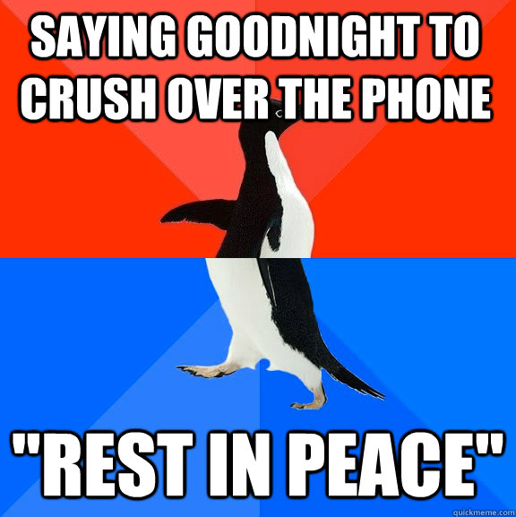 saying goodnight to crush over the phone rest in peace - Socially Awesome Awkward Penguin