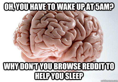 oh you have to wake up at 5am why dont you browse reddit  - Scumbag Brain