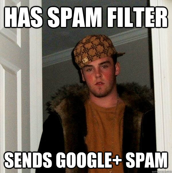has spam filter sends google spam - Scumbag Steve