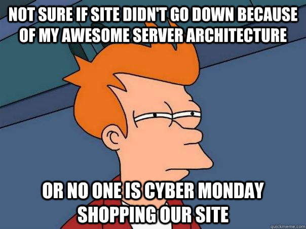 not sure if site didnt go down because of my awesome server - Futurama Fry