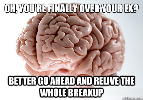 oh youre finally over your ex better go ahead and relive - Scumbag Brain