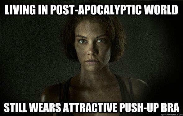 living in postapocalyptic world still wears attractive push -