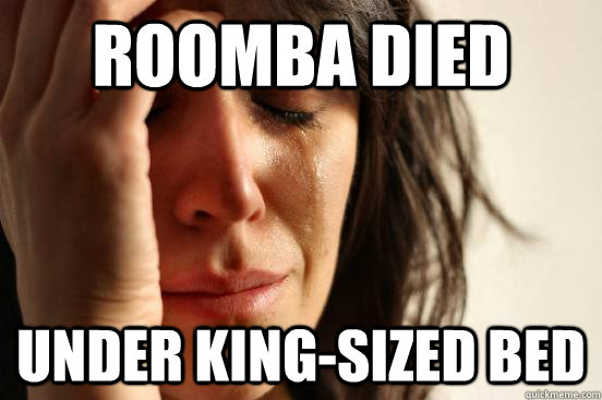 roomba died under kingsized bed - First World Problems