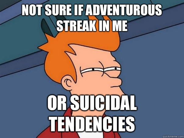 Not sure if adventurous streak in me Or suicidal tendencies - Futurama Fry