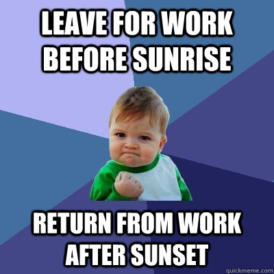 leave for work before sunrise return from work after sunset - Success Kid
