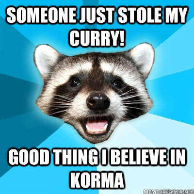 someone just stole my curry good thing i believe in korma  - Lame Pun Raccoon