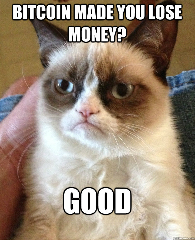 bitcoin made you lose money good - Grumpy Cat