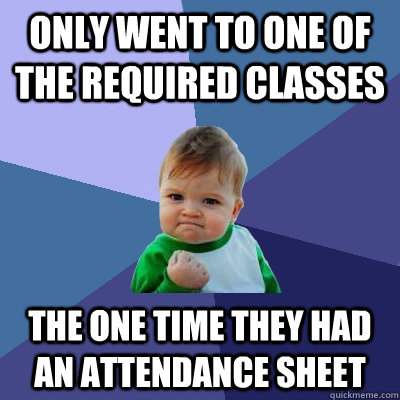 only went to one of the required classes the one time they h - Success Kid