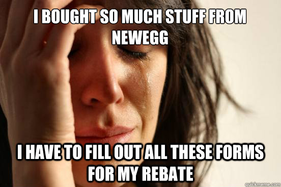 i bought so much stuff from newegg i have to fill out all th - First World Problems