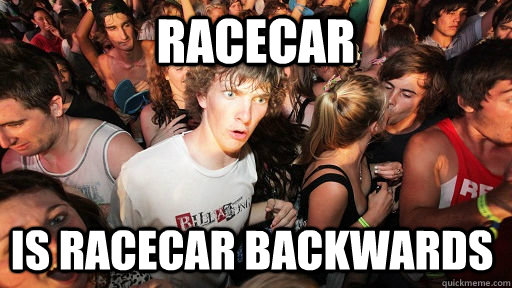 racecar is racecar backwards - Sudden Clarity Clarence