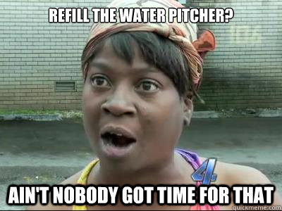 refill the water pitcher aint nobody got time for that - Aint Nobody Got Time For That