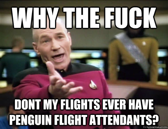 why the fuck dont my flights ever have penguin flight attend - Annoyed Picard HD