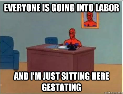 everyone is going into labor and im just sitting here gesta - Spiderman Desk