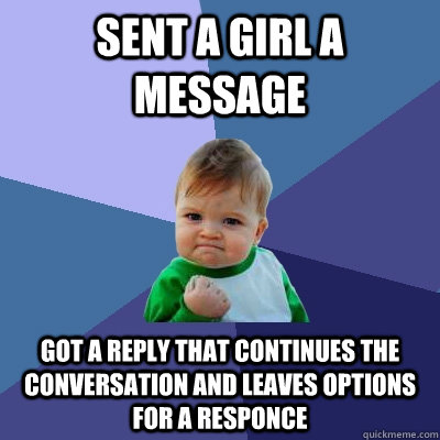 sent a girl a message got a reply that continues the convers - Success Kid