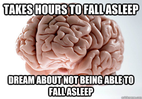 takes hours to fall asleep dream about not being able to fal - Scumbag Brain