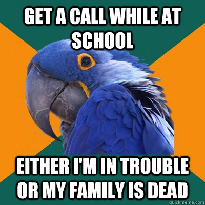get a call while at school either im in trouble or my famil - Paranoid Parrot