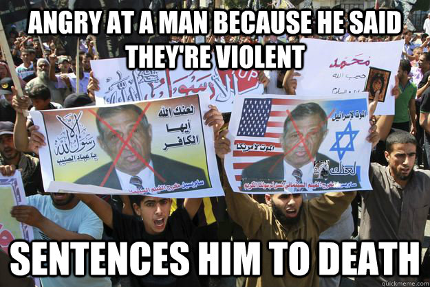 angry at a man because he said theyre violent sentences him - 
