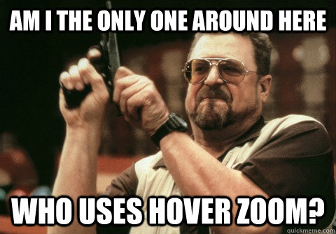 am i the only one around here who uses hover zoom - Am I the only one