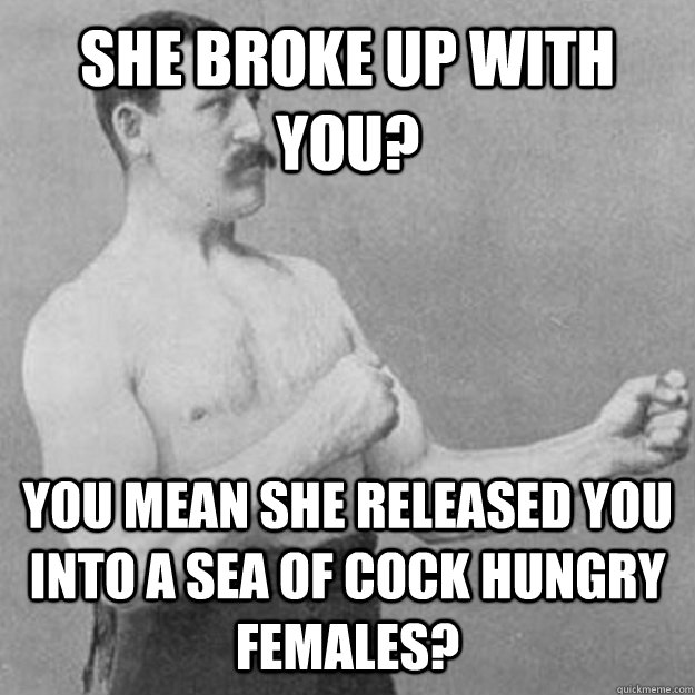 she broke up with you you mean she released you into a sea  - overly manly man