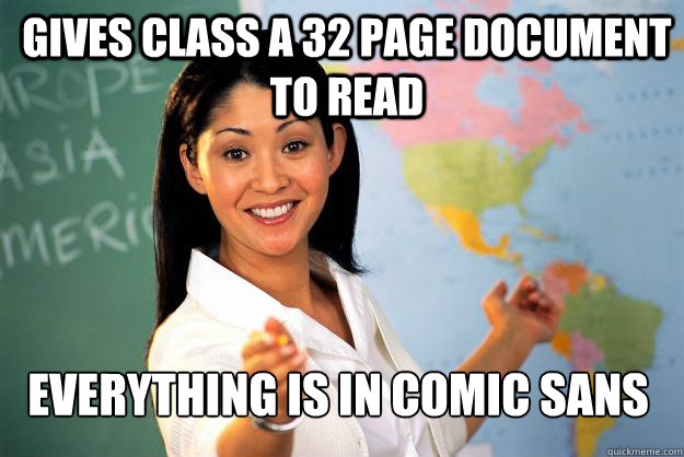 gives class a 32 page document to read everything is in comi - Unhelpful High School Teacher