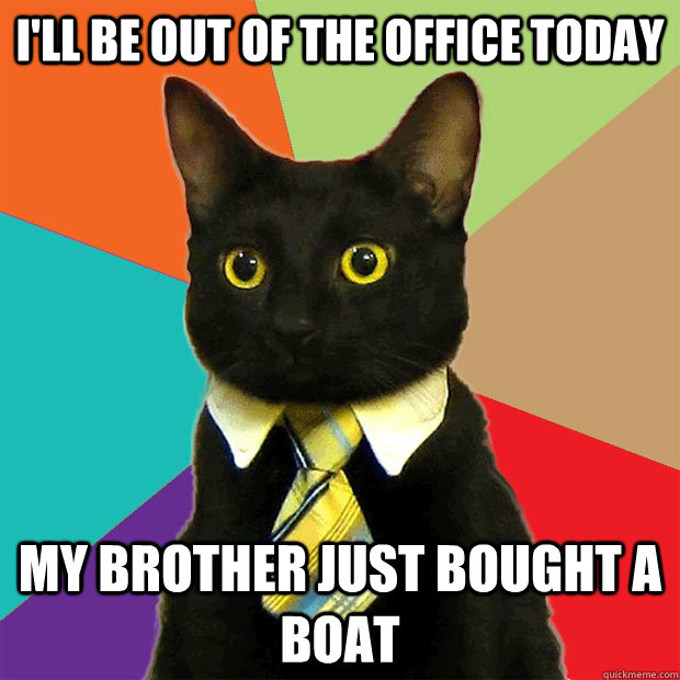 ill be out of the office today my brother just bought a bo - Business Cat