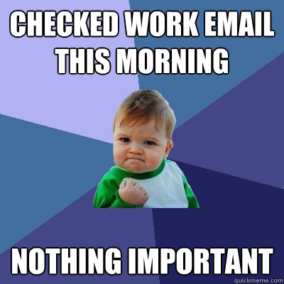 checked work email this morning nothing important - Success Kid