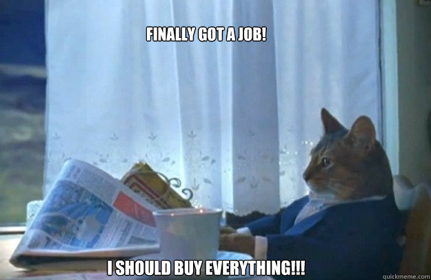 finally got a job i should buy everything - Sophisticated Cat