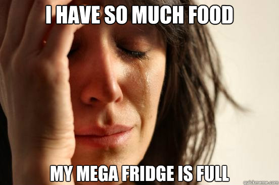 i have so much food my mega fridge is full - First World Problems