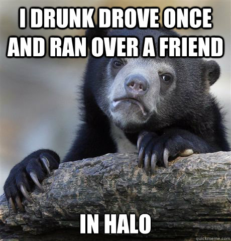i drunk drove once and ran over a friend in halo - Confession Bear