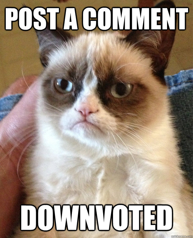 post a comment downvoted - Grumpy Cat