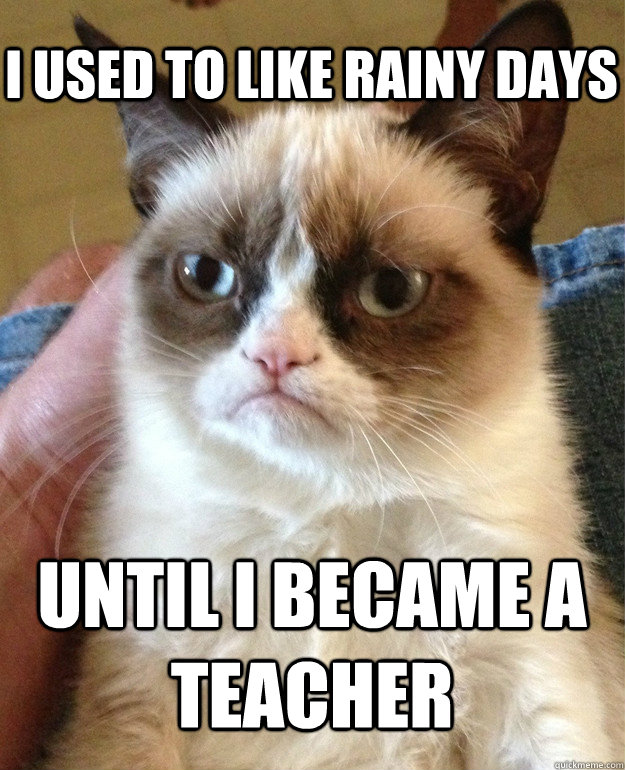 i used to like rainy days until i became a teacher - Grumpy Cat