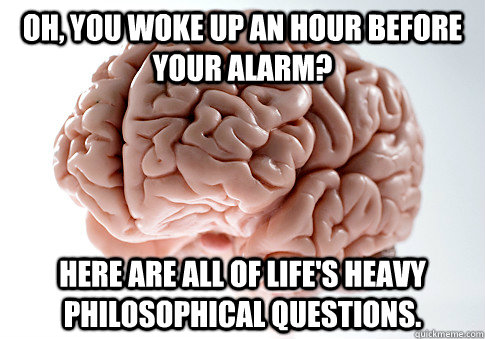 oh you woke up an hour before your alarm here are all of l - Scumbag Brain