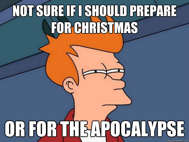 not sure if i should prepare for christmas or for the apocal - Futurama Fry