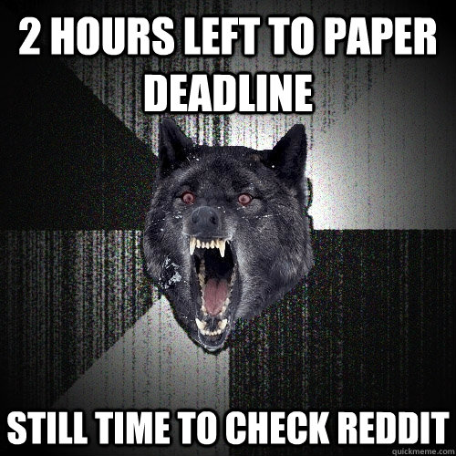 2 hours left to paper deadline still time to check reddit - Insanity Wolf