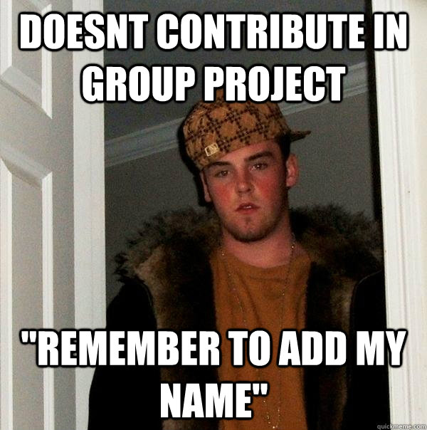doesnt contribute in group project remember to add my name - Scumbag Steve