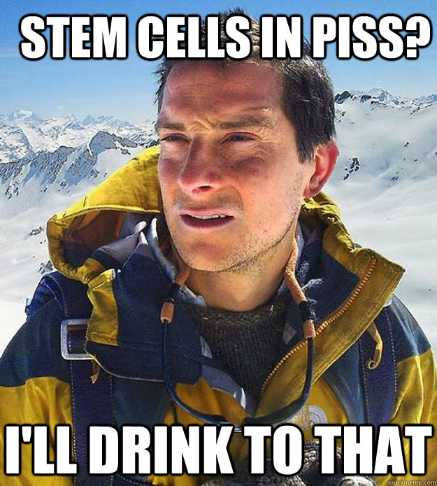 stem cells in piss ill drink to that - Best size bear grylls meme